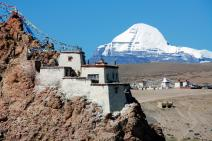 34 Old Chiu Gompa Perched On A Hill With Mount Kailash Behind.jpg